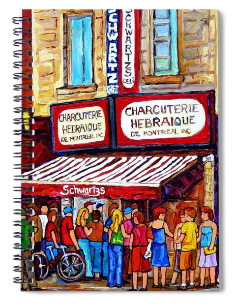 Charcuterie Hebraique Schwartz Line Up Waiting For Smoked Meat Montreal Paintings Carole Spandau     Spiral Notebook