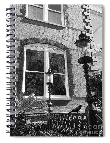 Charleston French Quarter Architecture - Window Street Lanterns Gothic French Black White Art Deco  Spiral Notebook