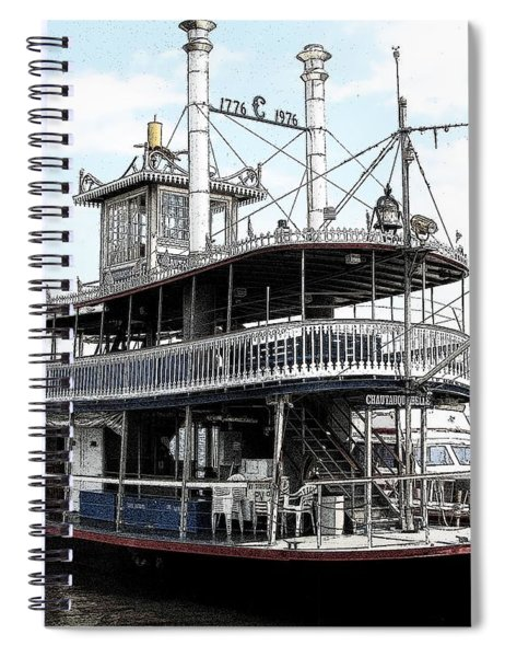 Chautauqua Belle Steamboat With Ink Sketch Effect Spiral Notebook