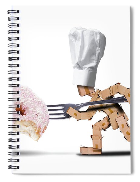 Chef Box Character Attacking A Large Donut Spiral Notebook
