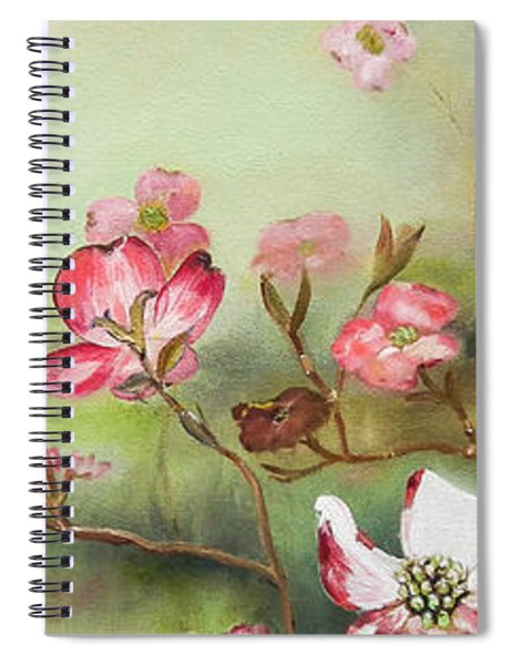 Spiral Notebook featuring the painting Cherokee Dogwood - Brave- Blushing by Jan Dappen