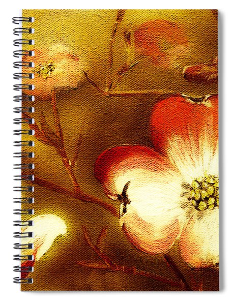 Spiral Notebook featuring the painting Cherokee Rose Dogwood - Glow by Jan Dappen
