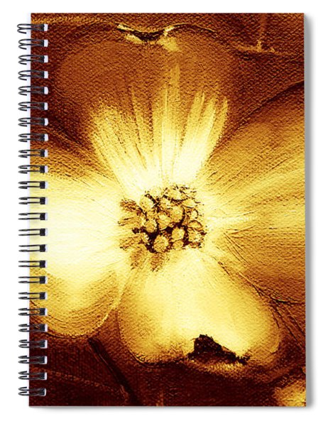 Spiral Notebook featuring the painting Cherokee Rose Dogwood - Single Glow by Jan Dappen