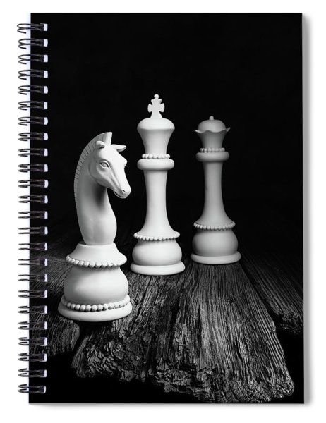Chess Pieces On Old Wood Spiral Notebook