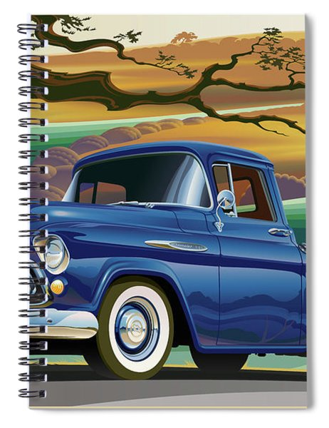 1957 Chevrolet 3100 Truck Under A California Oak Spiral Notebook