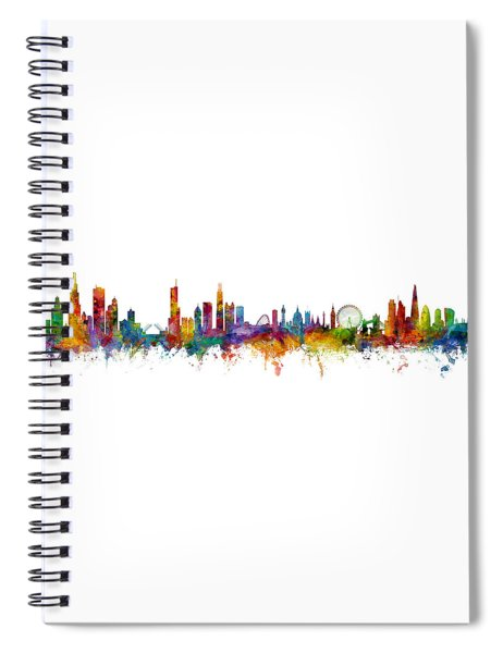Chicago And London Skylines Mashup Spiral Notebook