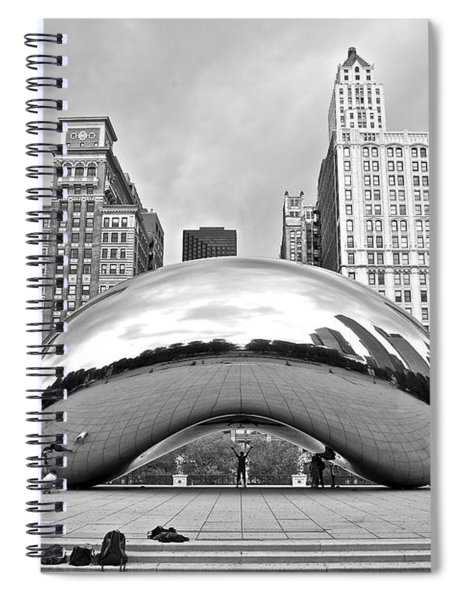 Chicago Bean In Black And White Spiral Notebook