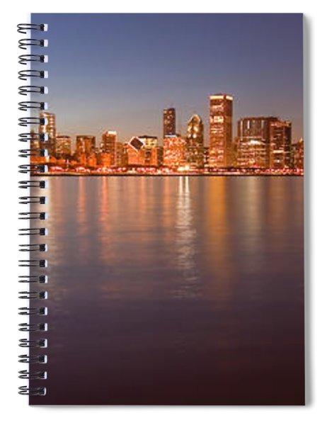 Chicago Dusk Skyline Panoramic  Spiral Notebook