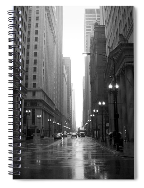 Chicago In The Rain 2 B-w Spiral Notebook