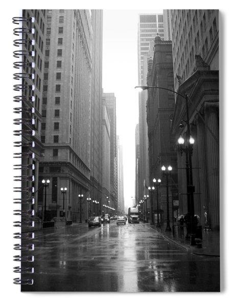 Chicago In The Rain 2 B-w Spiral Notebook