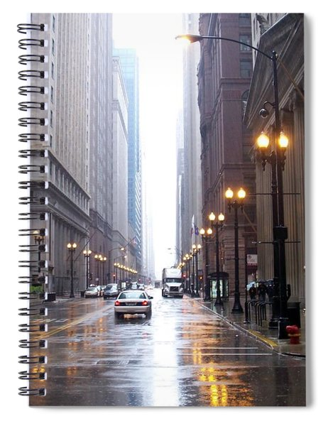 Chicago In The Rain Spiral Notebook