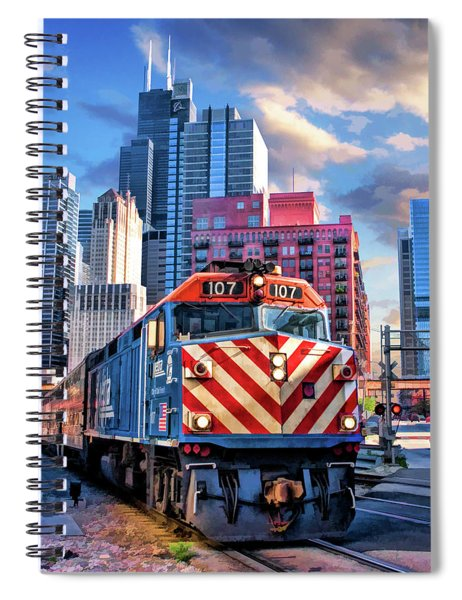 Chicago Metra Train Downtown Spiral Notebook