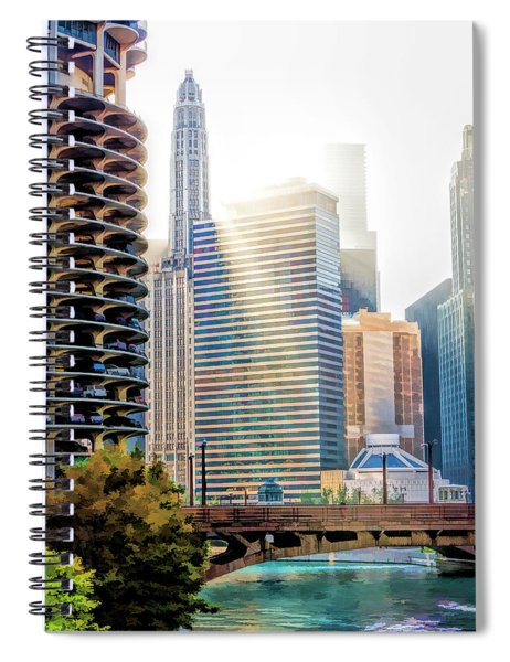 Chicago River Morning Rays Spiral Notebook