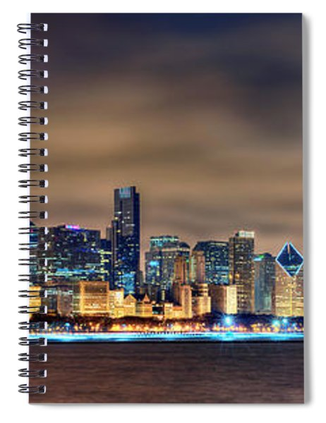Chicago Skyline At Night Panorama Color 1 To 3 Ratio Spiral Notebook