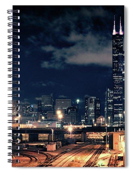 Chicago Skyline Cityscape At Night Spiral Notebook