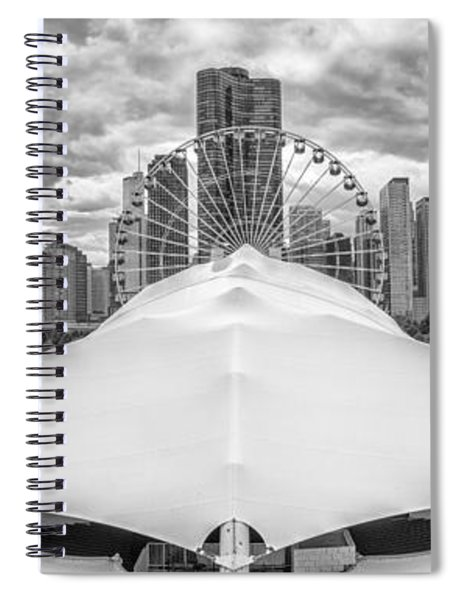Chicago Skyline From Navy Pier Black And White Spiral Notebook
