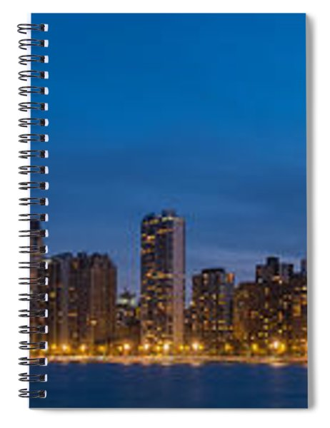 Chicago Skyline From North Ave Beach Panorama Spiral Notebook