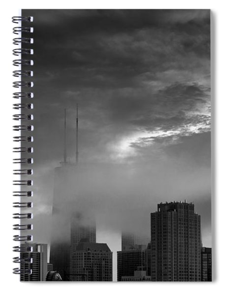Chicago Skyline Storm B W Spiral Notebook