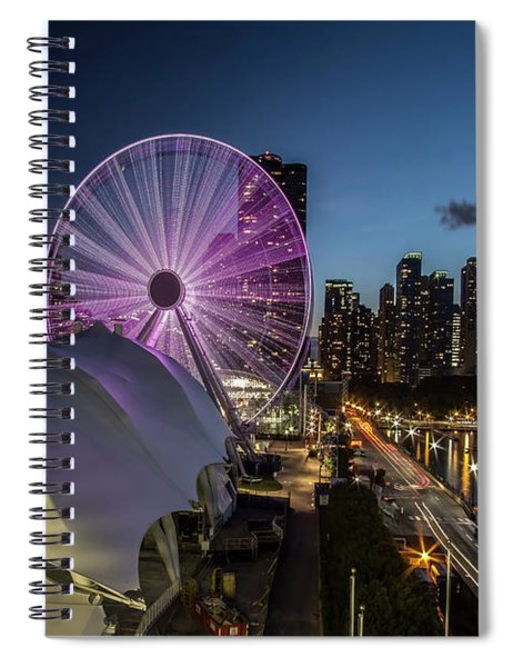 Chicago Skyline With New Ferris Wheel At Dusk Spiral Notebook