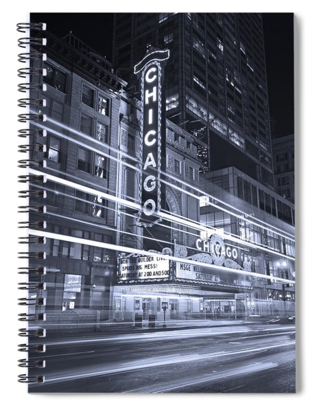 Chicago Theater Marquee B And W Spiral Notebook