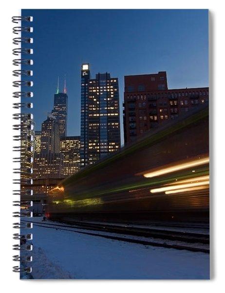 Chicago Train Blur Spiral Notebook