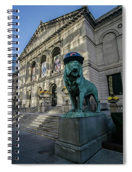 Chicago's Art Institute With Cubs Hat Spiral Notebook