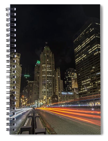 Chicago's Mag Mile Night Streaks Spiral Notebook