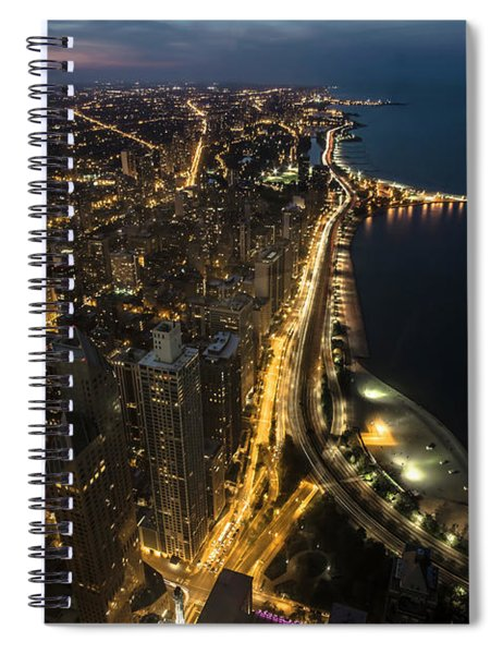 Chicago's North Side From Above At Night  Spiral Notebook