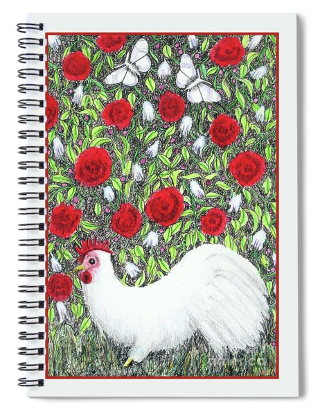 Chicken And Butterflies In The Flowers Spiral Notebook