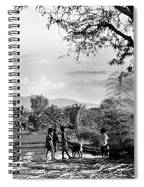 Children Of Central Highland Are Playing With A Dog Spiral Notebook