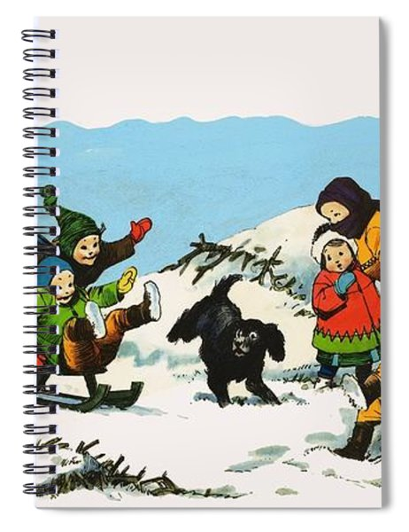 Children Playing In The Snow Spiral Notebook