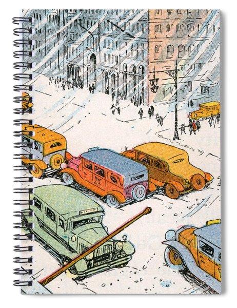 Children Watching City Traffic In A Snowstorm Spiral Notebook