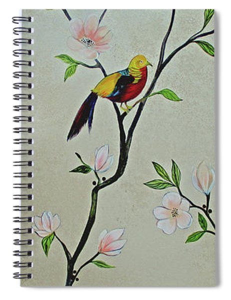 Chinoiserie - Magnolias And Birds #1 Spiral Notebook
