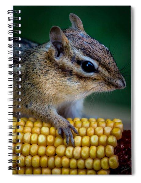 Chipmunk Goes Wild For Corn Spiral Notebook