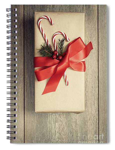 Christmas Gift With Candy Canes Spiral Notebook