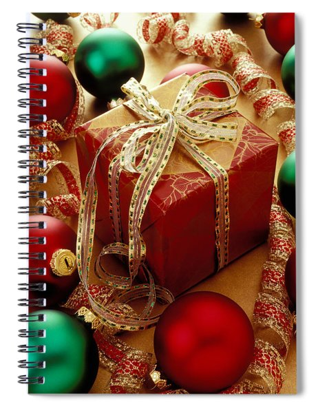 Christmas Present And Ornaments Spiral Notebook