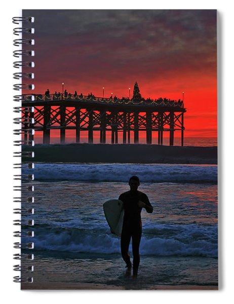 Christmas Surfer Sunset Spiral Notebook