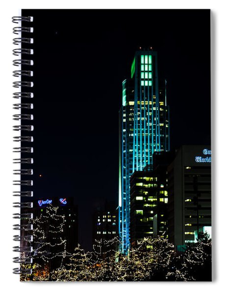 Spiral Notebook featuring the photograph Christmas Time In Omaha by Edward Peterson