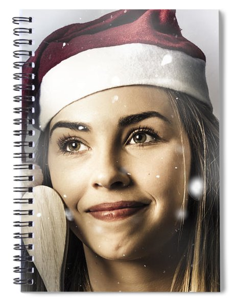 Christmas Woman Cooking Up Winter Food Idea Spiral Notebook