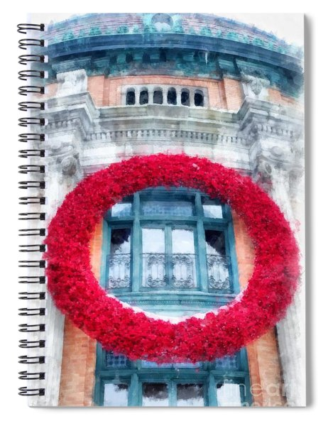 Christmas Wreath Old Quebec City Spiral Notebook