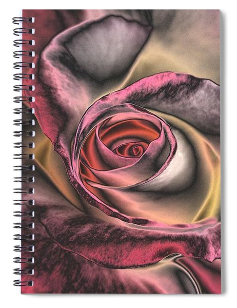 Spiral Notebook featuring the digital art Chrome Rose 368 by Brian Gryphon