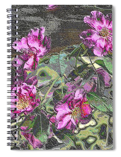 Spiral Notebook featuring the digital art Chrome Roses 2666 by Brian Gryphon