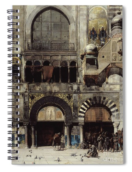 Circassian Cavalry Awaiting Their Commanding Officer At The Door Of A Byzantine Monument Spiral Notebook