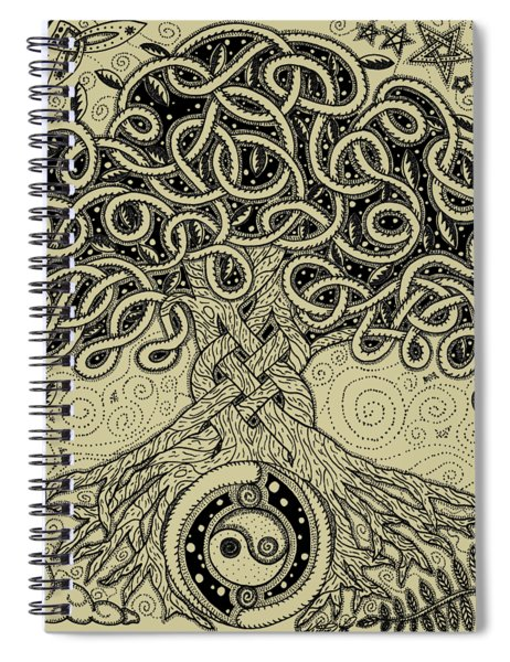 Circle Celtic Tree Of Life Inked Spiral Notebook