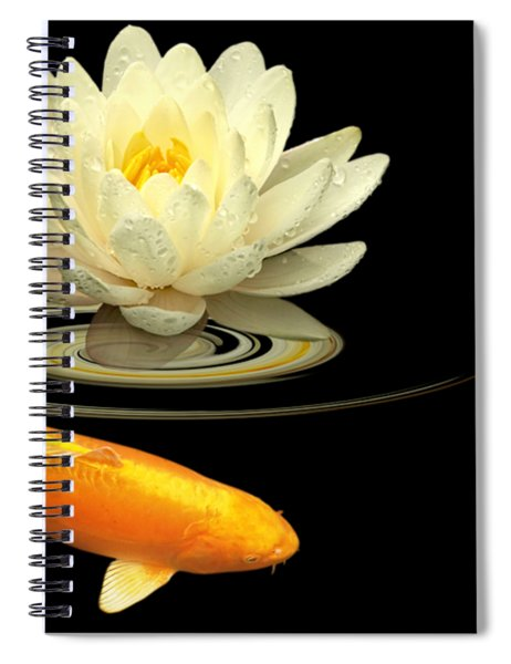 Circle Of Life - Koi Carp With Water Lily Spiral Notebook
