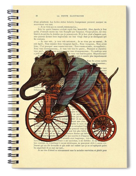 Circus Elephant On Bicycle Spiral Notebook