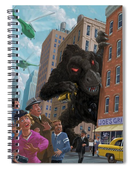 City Invasion Furry Monster Spiral Notebook