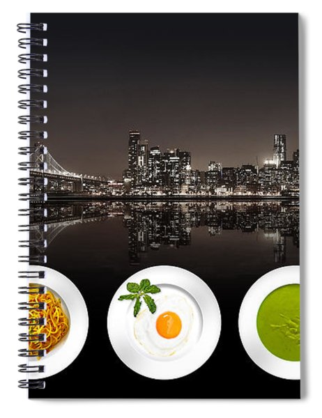 Spiral Notebook featuring the digital art City Of Cultural Cuisines by ISAW Company