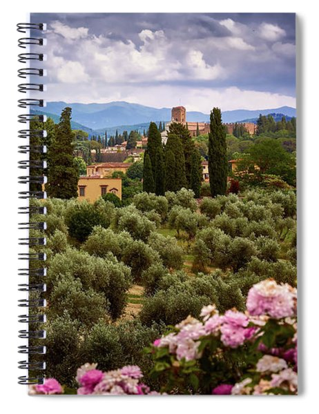Tuscan Landscape With Roses And Mountains In Florence, Italy Spiral Notebook
