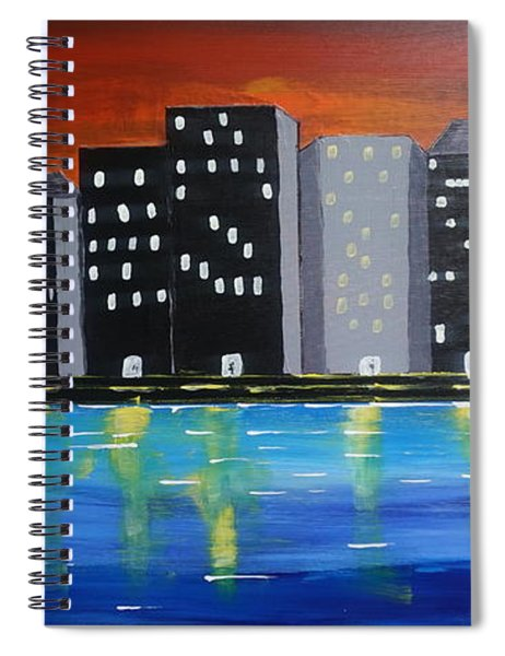City Scape_night Life Spiral Notebook